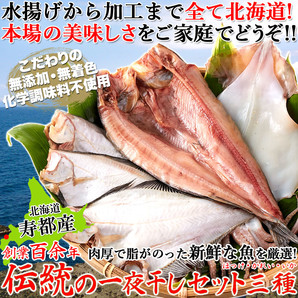 北海道寿都産の新鮮な魚を厳選!!創業百余年!!伝統の一夜干しセット三種(ほっけ・かれい・いか)[A冷凍]